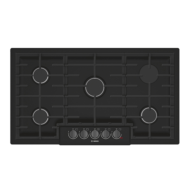 "Gas Cooktop - 5 Burners - 37"" - Black Stainless Steel"