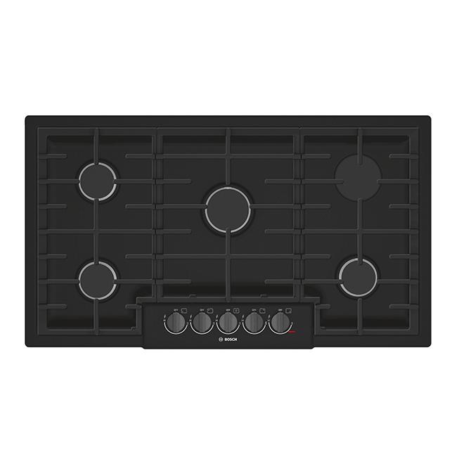 """Surface de cuisson au gaz, 5 brûleurs, 37"""", inox noir"""
