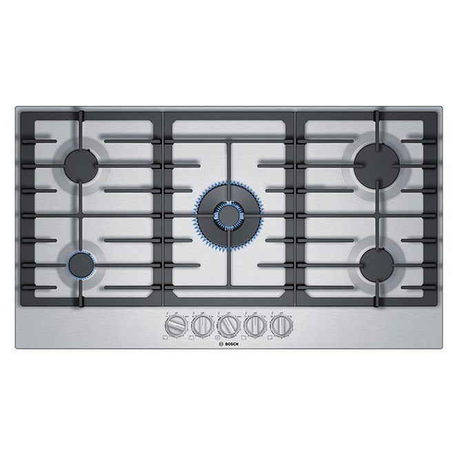 """Bosch Gas Cooktop - 5 Burners - 36"""" - Stainless Steel"""