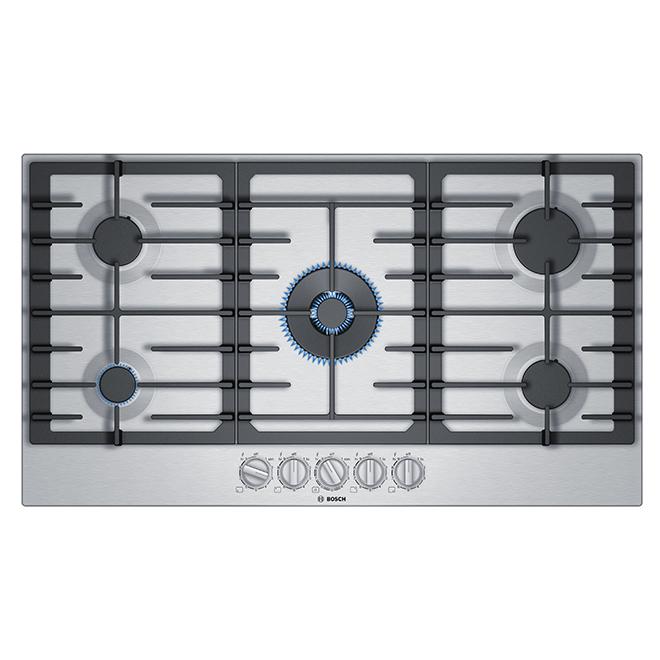 """Surface de cuisson au gaz Bosch, 5 brûleurs, 36"""", inox"""