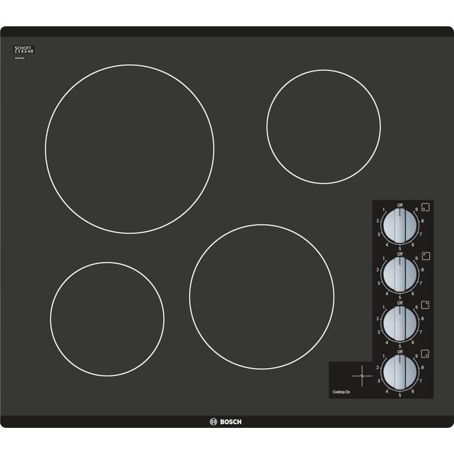Surface de cuisson électrique Bosch série 500, 24 po, 4 éléments