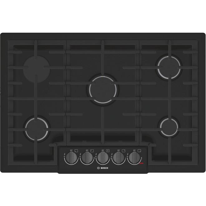 """Surface de cuisson à gaz Bosch série 800, 30"""", noir"""