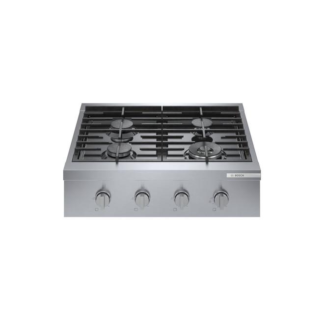 Surface de cuisson à gaz Bosch, 47 000 BTU, 4 brûleurs, 30 po, inox