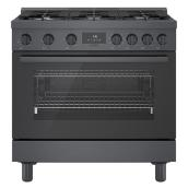 Bosch Dual Fuel Freestanding Range - 800 Series - 6 Burners - 36-in - Black Stainless Steel