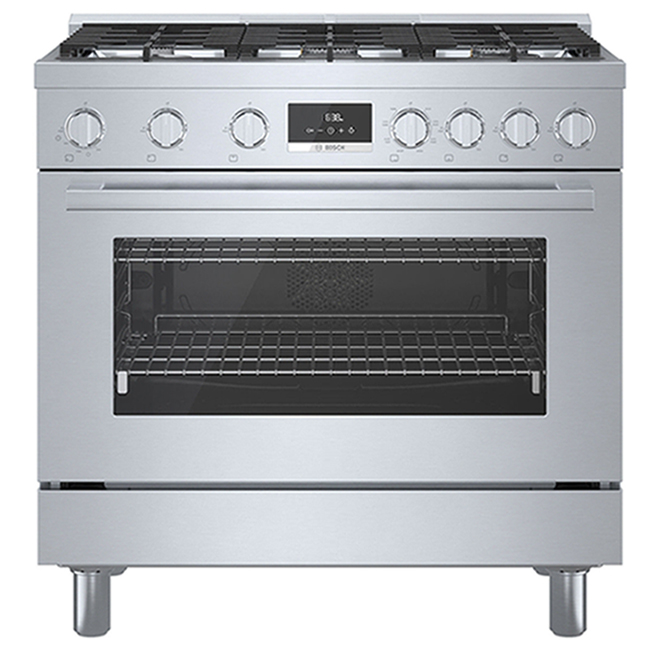 Cuisinière biénergie autoportante Bosch, série 800, 6 brûleurs, 36 po, acier inoxydable