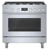 Cuisinière au gaz autoportante Bosch, série 800, 6 brûleurs, 36 po, acier inoxydable