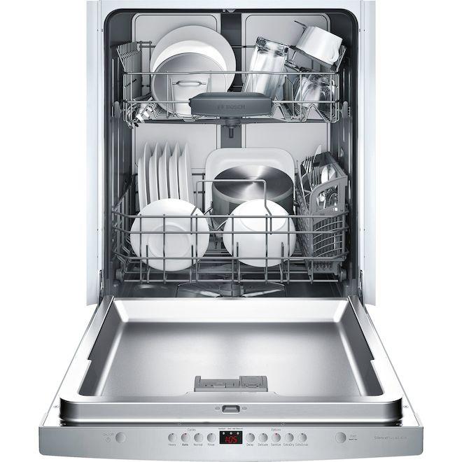 Lave-vaisselle encastrable Bosch Série 300 de 24 po avec PrecisionWash et ExtraScrub, acier inoxydable