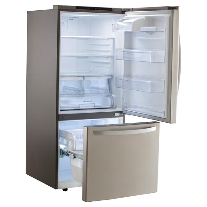 """Réfrigérateur à congélateur inférieur 30"""", 22 pi³, inox"""