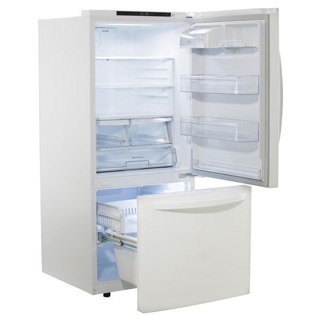 Réfrigérateur à congélateur inférieur 22,1 pi³, blanc
