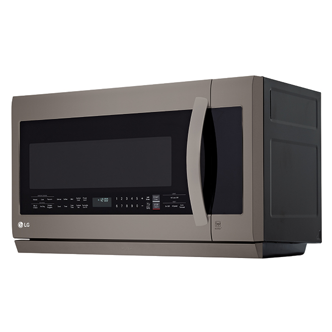 Micro-ondes four-hotte LG, 2,2 pi³, acier inoxydable noir, avec hotte coulissante ExtendaVent