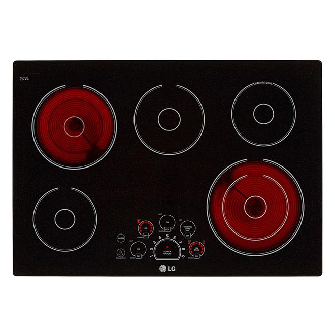 Surface de cuisson à 5 éléments LG avec commandes SmoothTouch, 30 po, noire