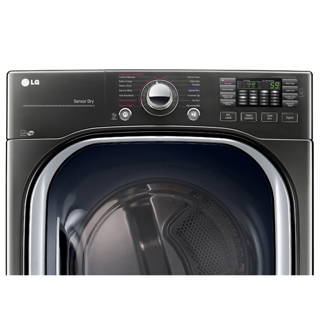 Electric Dryer with TurboSteam(R)-7.4 cu. ft. -Black Steel