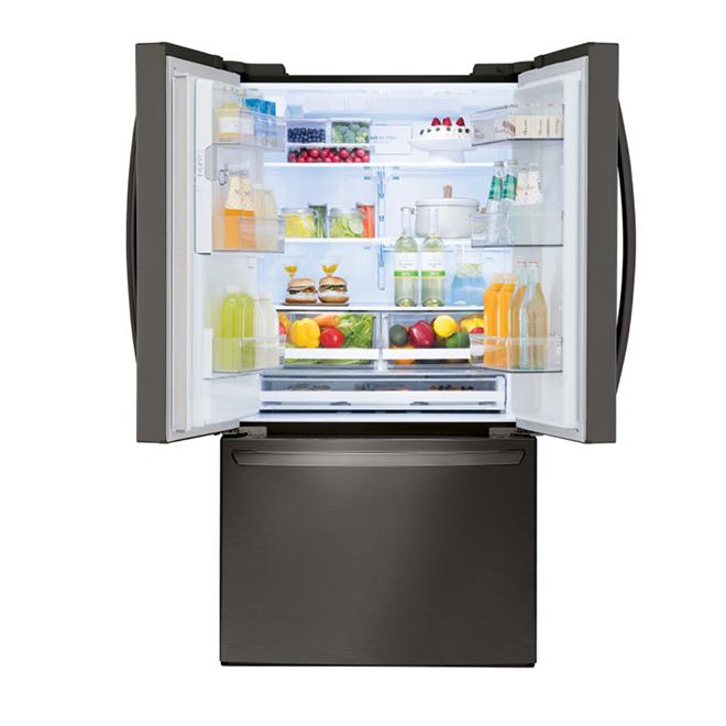 Réfrigérateur portes françaises, 28 pi³, acier inoxydable noir