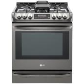 "Slide-In Gas Range - 30"" - 6.3 cu. ft. - Black Stainless Steel"