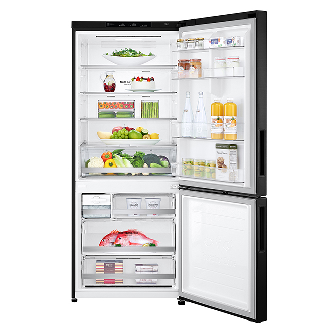 "LG Bottom-Freezer Refrigerator - 15 cu. ft. - 28"" - Matte Black"