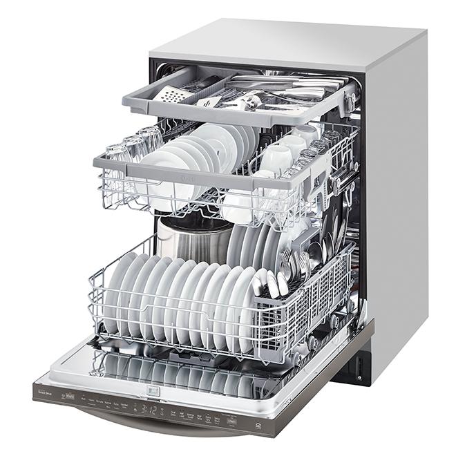 """LG QuadWash(TM) Smart Slide-In Dishwasher - 24"""" - Black SS"""