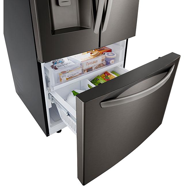 """Réfrigérateur à portes françaises LG, 33"""", 24,5 pi³, inox noir"""