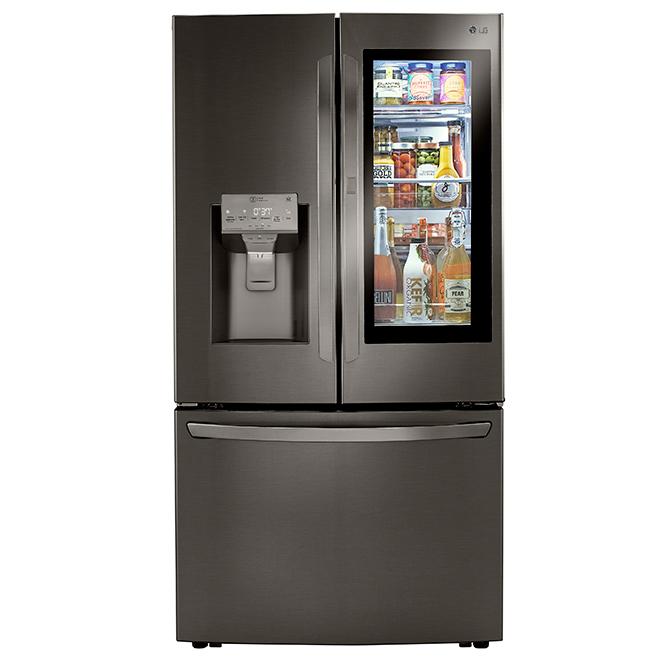 """Réfrigérateur à portes françaises LG, 36"""", 23,5 pi³, inox noir"""