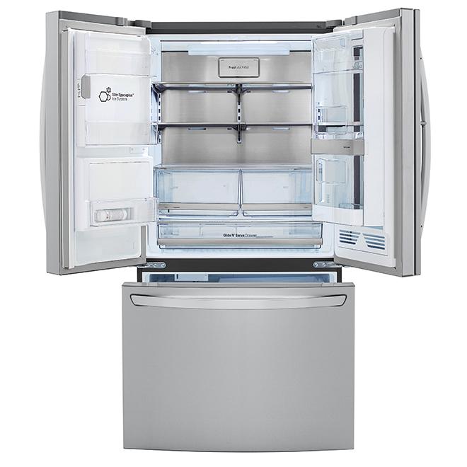 """Réfrigérateur à portes françaises LG, 36"""", 29,7 pi³, inox"""