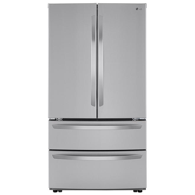 Réfrigérateur à portes françaises LG avec congélateur à 2 tiroirs, 26,9 pi³, 36 po, acier inoxydable