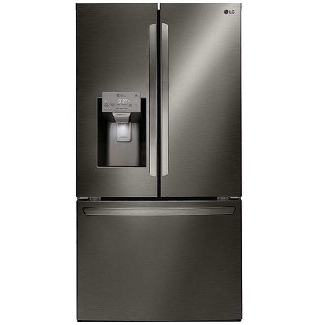 LG French Door Refrigerator with PrintProof Finish - 22 cu.ft. - 36-in - Black Stainless Steel