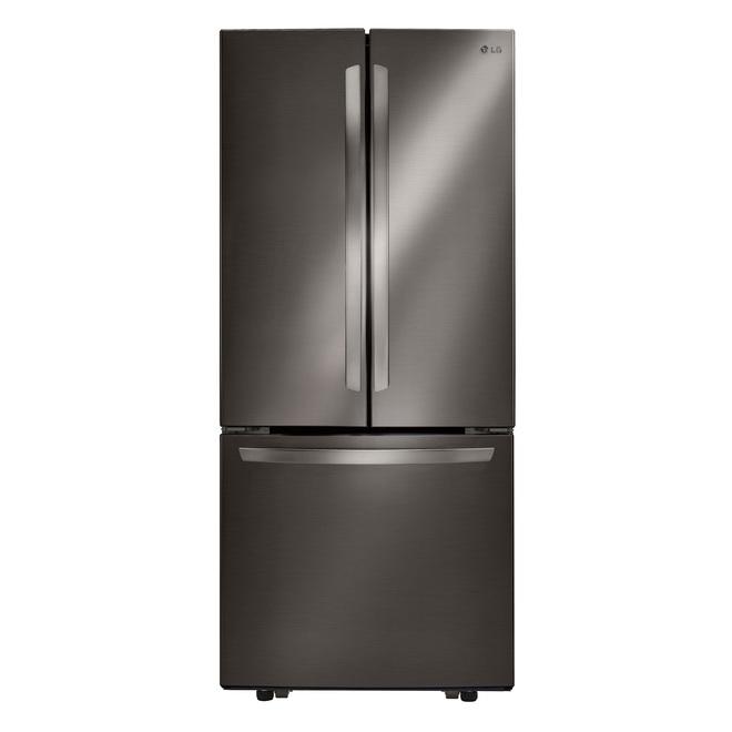 Réfrigérateur avec portes francaises LG, 30 po, 22 pcu, acier inoxydable noir