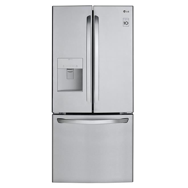 Réfrigérateur à portes françaises LG avec distributeur d'eau , 30 po, 21,8 pi³, acier inoxydable