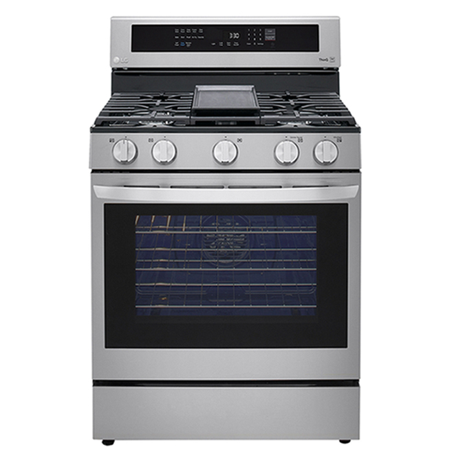 LG Freestanding Gas Range with Air Fry - 5 Burners - 5.8 cu. ft. - 30.5-in - Stainless Steel