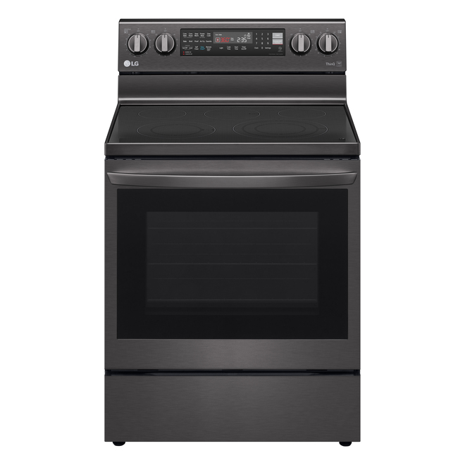 LG Freestanding Electric Range with Ceramic Glass Cooktop - 30-in - 6.3 cu. ft. - Black Stainless Steel