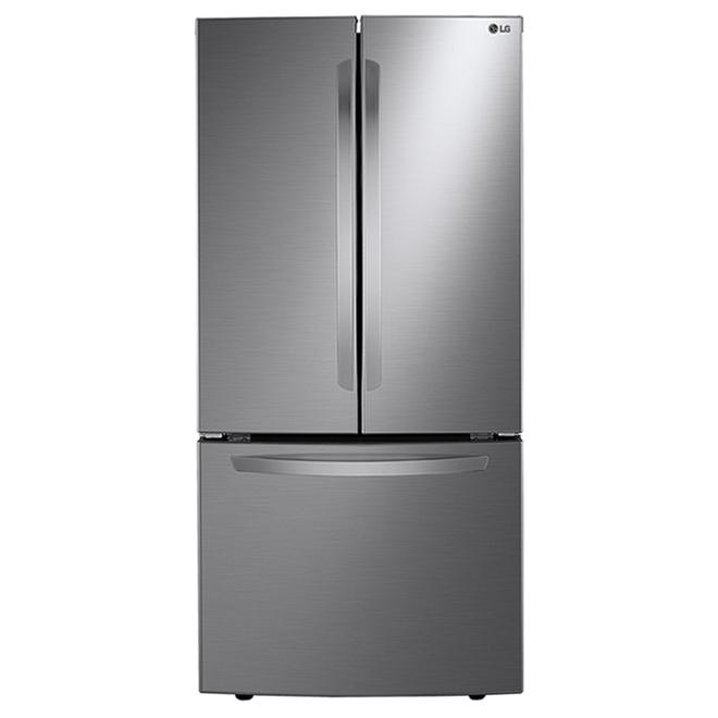 Réfrigérateur avec portes françaises LG avec système Refroidissement+ de la porte, 25 pi³, 33 po, argent platine