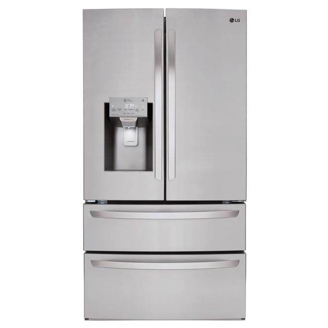 Réfrigérateur à portes françaises LG avec tiroir double et Wi-Fi, 36 po, 28 pi³, acier inoxydable