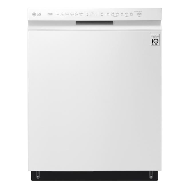 Lave-vaisselle encastré LG de 24 po à commandes frontales avec système QuadWash, blanc