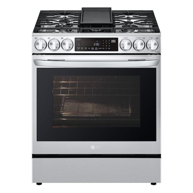 Cuisinière à gaz LG autonettoyante à convection avec friture à air et InstaView, 5 brûleurs, 30 po, 6,3 pi³, inox
