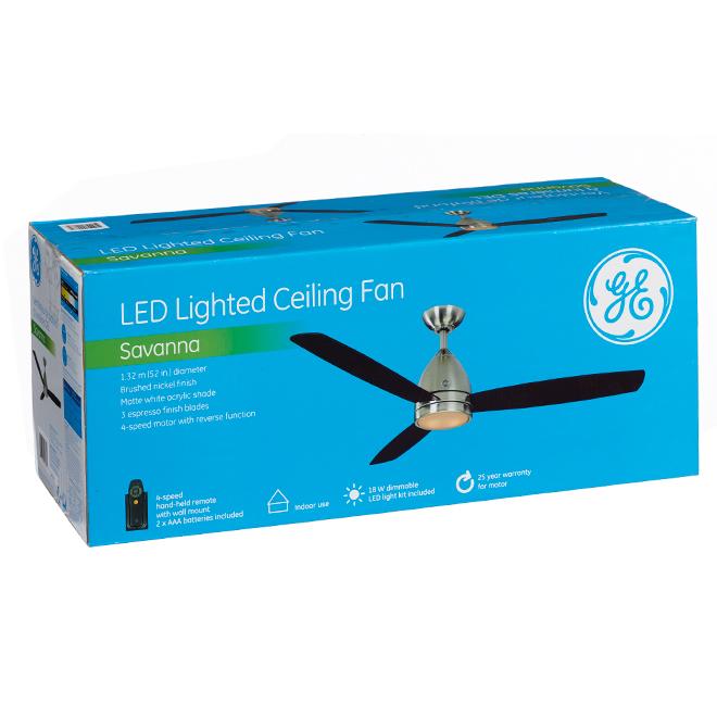 Ceiling Fan - Brushed Nickel - LED Light - 52''