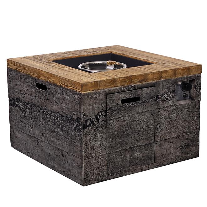 Propane Outdoor Fireplace Square 50000 Btu Grey Wood Rona