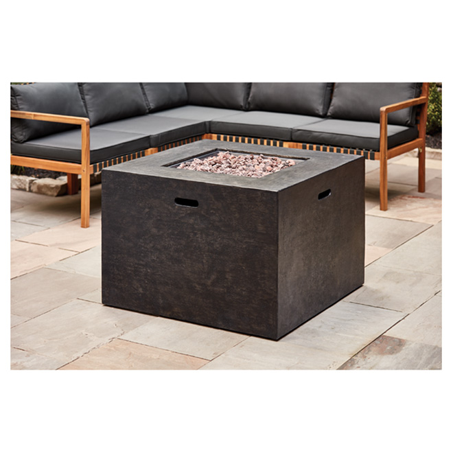 Propane Outdoor Fireplace - Square - 50,000 BTU - Black