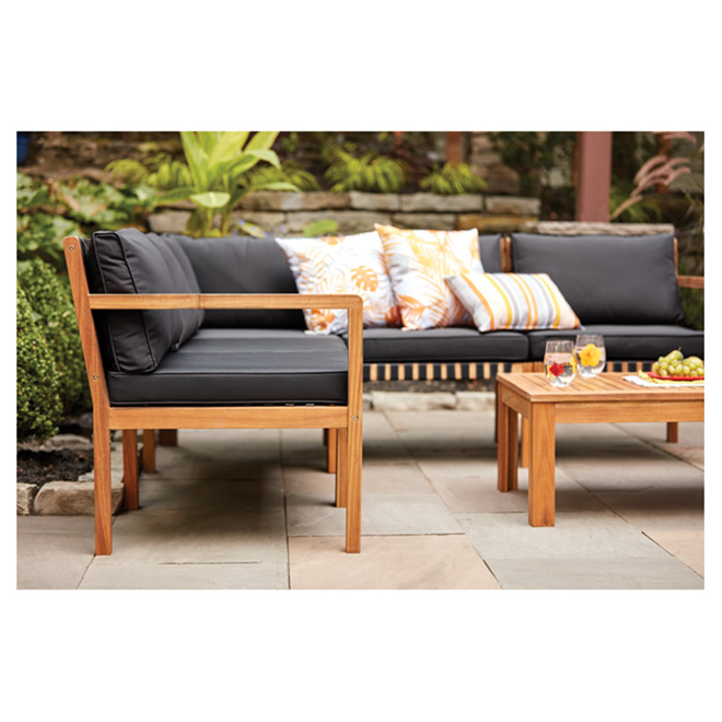 Acacia Wood Patio Set Sao Paulo Natural Black 5 Places 41 970