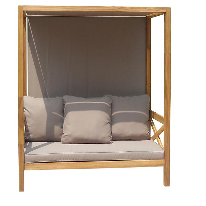 lit de jour pour patio rio bois d 39 acacia acacia taupe. Black Bedroom Furniture Sets. Home Design Ideas