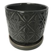 """Pot à fleurs en terre cuite vernie, lustré, 6"""" x 5,5"""", charbon"""