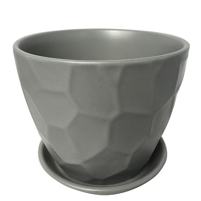 """Glazed Clay Planter Pot - 6"""" x 5.9"""" - Grey"""