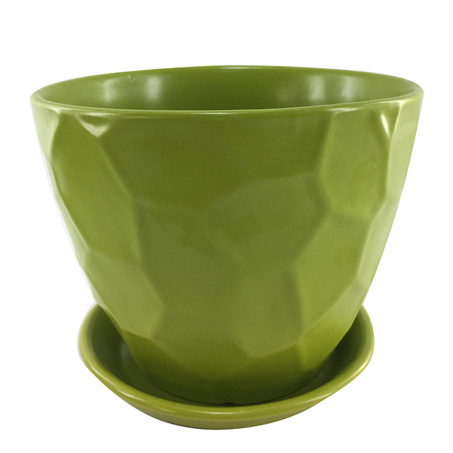 "Glazed Clay Planter Pot - 6"" x 5.9"" - Green"