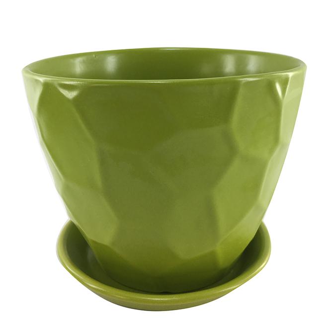 """Pot en terre cuite vernie, 6"""" x 5,9"""", vert"""