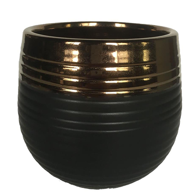 "Glazed Clay Planter Pot - 6"" x 5.5"" - Black/Copper"