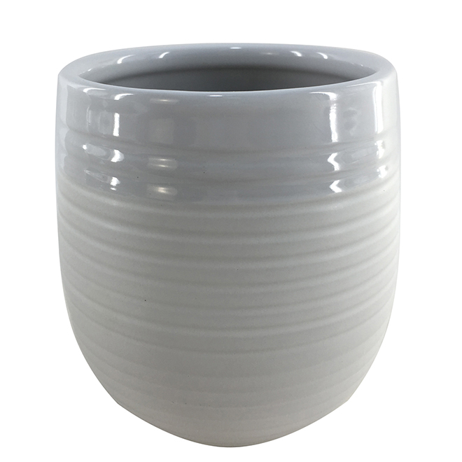 "Glazed Clay Planter Pot - 5"" x 5.5"" - White/Cream"