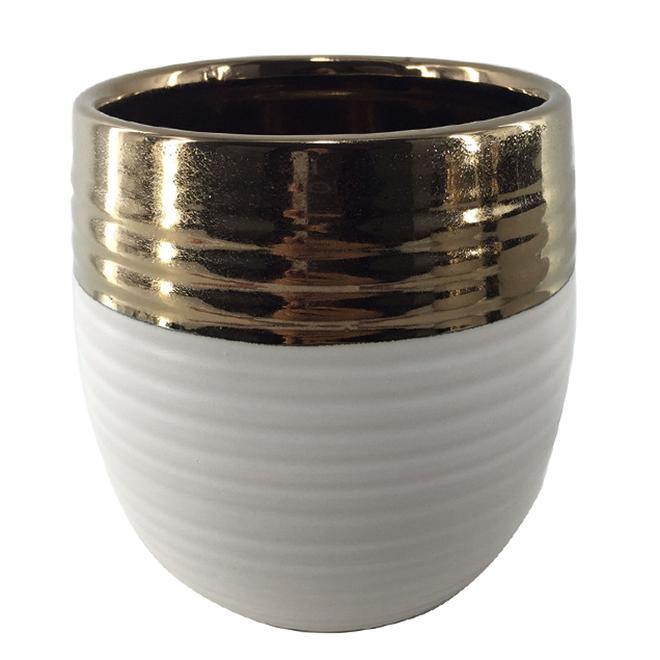 "Glazed Clay Planter Pot - 5"" x 5.5"" - White/Copper"