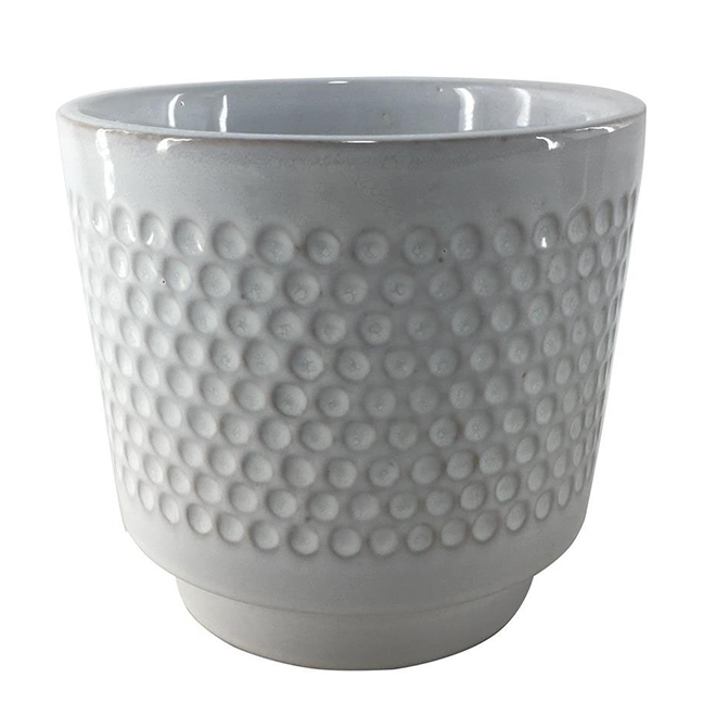 "Glazed Clay Flower Pot - Textured Design - 6"" x 5.5"" - Cream"