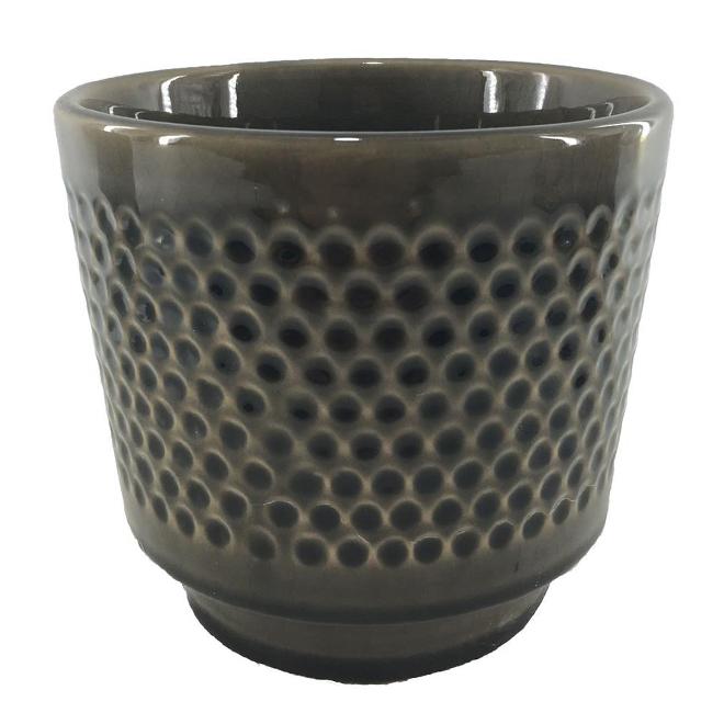 """Pot en argile vernie, motif texturé, 6"""" x 5,5"""", charbon"""