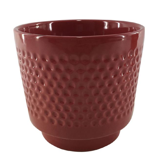224 & Glazed Clay Flower Pot - Textured Design - 6\