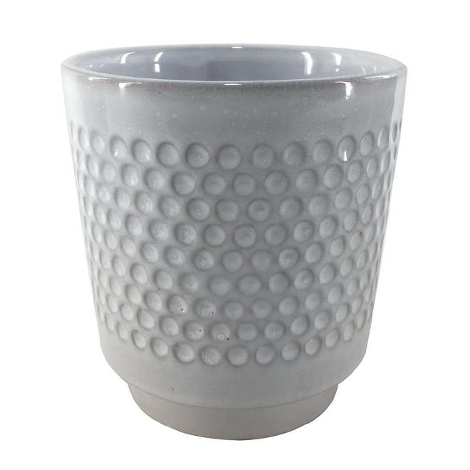 """Glazed Clay Flower Pot - Textured Design - 5"""" x 5.5"""" - Cream"""