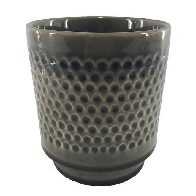 "Glazed Clay Pot - Textured Design - 5"" x 5.5"" - Charcoal"